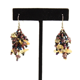 Fuzzy Earrings - #239 Purple and Citrine