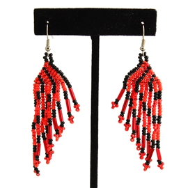 Classic Fringe Earring - #357 Black and Red