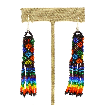 Zulu Earrings - #118 Rainbow and Black