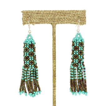 Zulu Earrings - #131 Turquoise and Bronze
