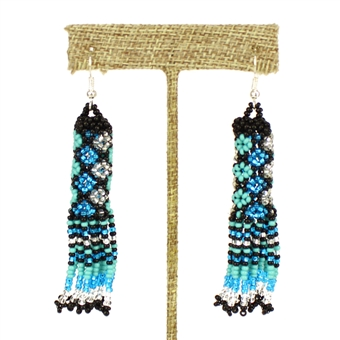 Zulu Earrings - #135 Turquoise and Crystal