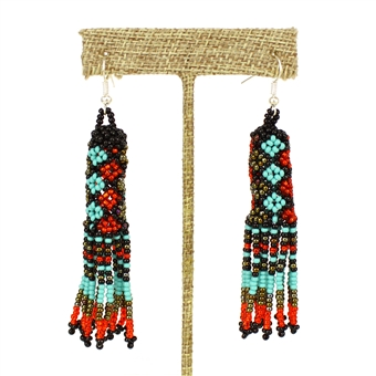 Zulu Earrings - #138 Turquoise and Red
