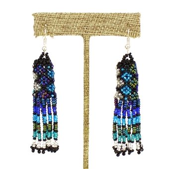 Zulu Earrings - #170 Blue and Crystal