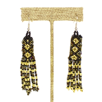 Zulu Earrings - #370 Bronze, Gold, Black