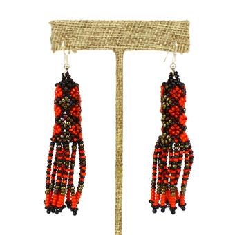 Zulu Earrings - #403 Red and Bronze