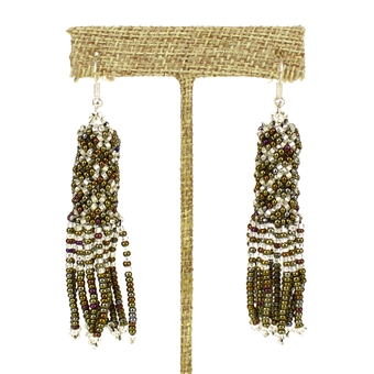 Zulu Earrings - #459 Bronze and Crystal