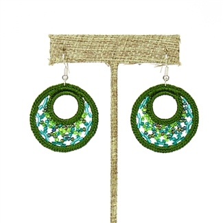 Woven Earrings, Small - #109 Green
