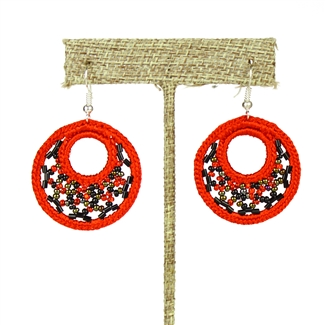 Woven Earrings, Small - #111 Red Garnet