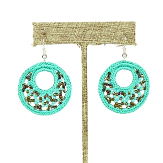 Woven Earrings, Small - #131 Turquoise and Bronze
