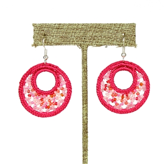 Woven Earrings, Small - #164 Pink