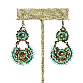 Crystal Canasta Earrings - #131 Turquoise and Bronze