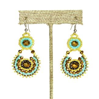 Crystal Canasta Earrings - #132 Turquoise and Gold