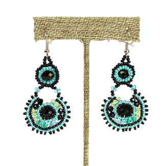 Crystal Canasta Earrings - #133 Turquoise and Black