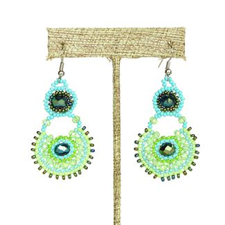Crystal Canasta Earrings - #134 Turquoise and Lime