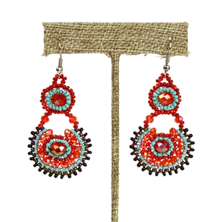 Crystal Canasta Earrings - #138 Turquoise and Red