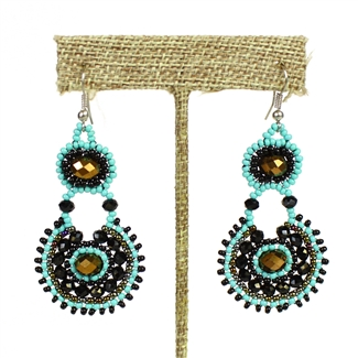 Crystal Canasta Earrings - #139 Turquoise, Black, Bronze