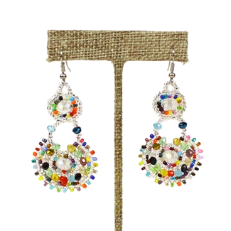 Crystal Canasta Earrings - #150 Crystal and Multi