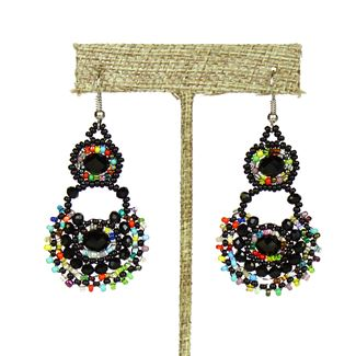 Crystal Canasta Earrings - #151 Black and Multi
