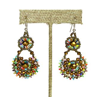Crystal Canasta Earrings - #152 Bronze and Multi