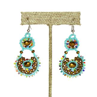 Crystal Canasta Earrings - #153 Turquoise, Bronze, Multi