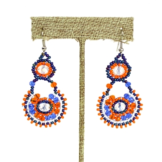 Crystal Canasta Earrings - #519 Orange and Blue