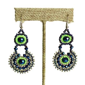 Crystal Canasta Earrings - #521 Blue and Lime