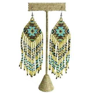 Linda Earring - #132 Turquoise and Gold