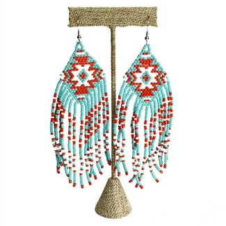 Linda Earring - #558 Turquoise, Red, White