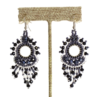 Sol Earring - #102 Black and Crystal