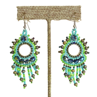 Sol Earring - #134 Turquoise and Lime