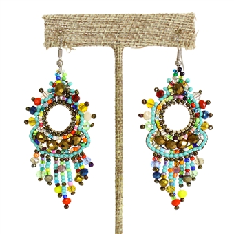 Sol Earring - #153 Turquoise, Bronze, Multi