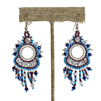 Sol Earring - #506 Blue Iris and Crystal