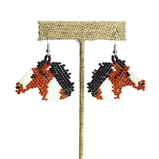 Horse Earring - Brown and White