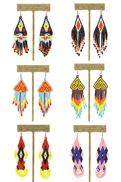 Assorted Native Earrings - Assorted Styles and Colors Only