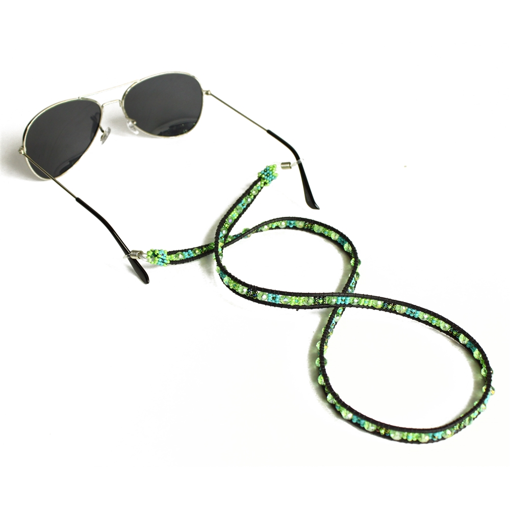0a562712be1e Crystal Leather Eyeglass Holder -  134 Turquoise and Lime