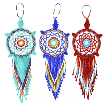 "Turtle Dream Catcher Ornament, 10"" Nose to Fringe"