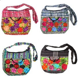 Mayan Weaving Hobo - Assorted Floral Embroidery