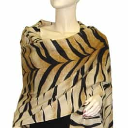 3 Ply Cashmere Pashmina Tiger Animal Print Wrap
