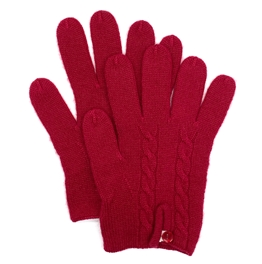 Knit Cashmere Gloves Cranberry