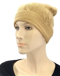 Cashmere Cable Knit Hat Camel