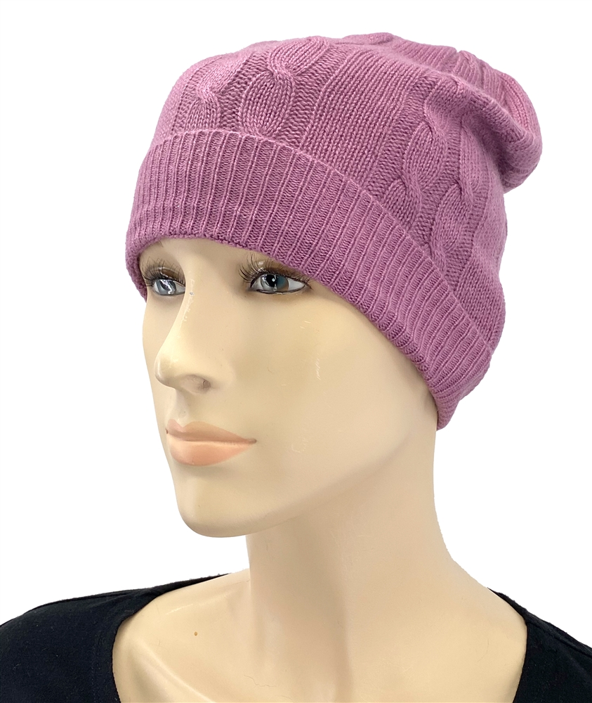 5dfd4547b00 Pure Cashmere Cable Knit Hat Midnight Lavender