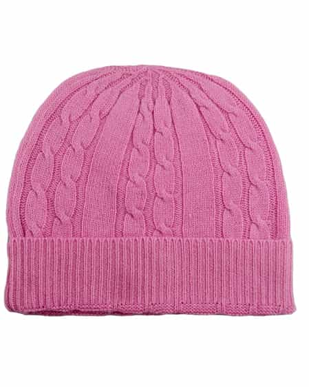 Pure Cashmere Cable Knit Hat Pink 49d6eeb28