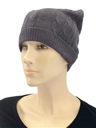 Cashmere Cable Knit Hat charcoal