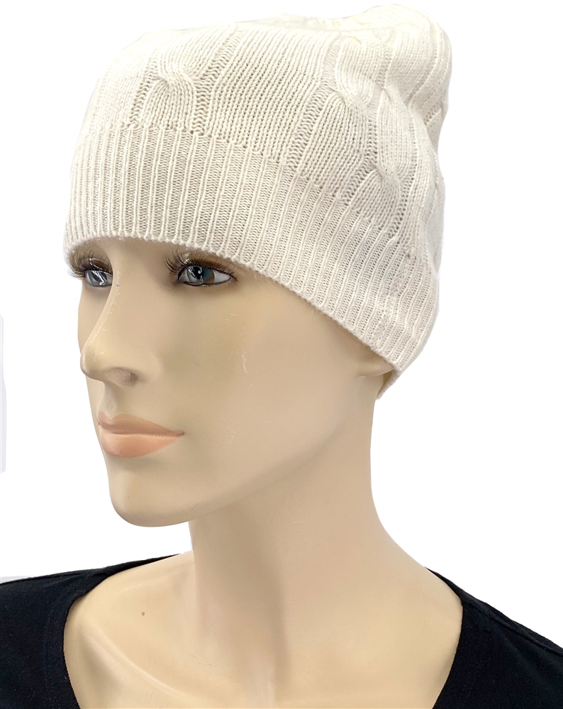 6847b13f45a Pure Cashmere Cable Knit Hat Natural
