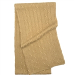 Pure Cashmere Cable Knit Scarf Camel