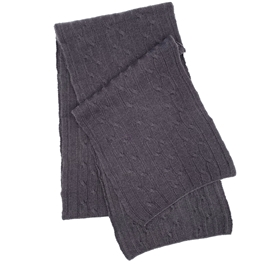 Pure Cashmere Cable Knit Scarf Charcoal