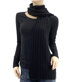 Pure Cashmere Cable Knit Scarf Black