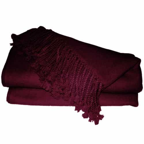 Pure Cashmere Throw Blanket Burgundy 3ply