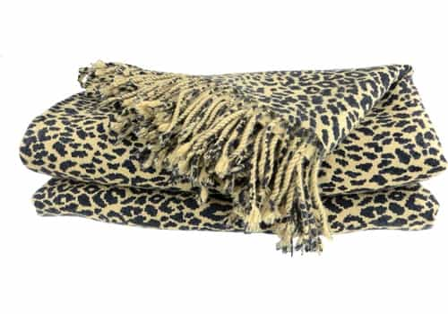 pure cashmere throw blanket cheetah animal print 3ply