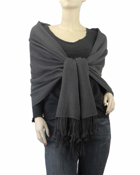 7d03beefe Pure Pashmina Shawl Charcoal 3Ply